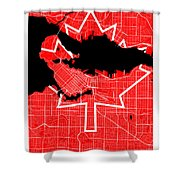 Vancouver Street Map - Vancouver Canada Road Map Art On Canada Flag Symbols Shower Curtain