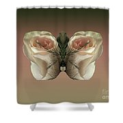 Vanilla Butterfly Rose Shower Curtain