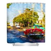Vintage Cars In Varadero Shower Curtain