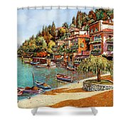 Varenna On Lake Como Shower Curtain by Guido Borelli