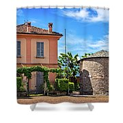 Varenna Town Square Buildings Shower Curtain