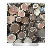 Various Firewood In The Round Shower Curtain