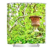 Vase In The Green Shower Curtain