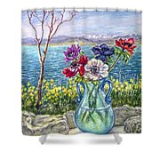 Vase Of Anemones With View Of Nafplio Shower Curtain