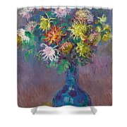 Vase Of Chrysanthemums Shower Curtain