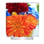 Vase Of Colorful Flowers Shower Curtain
