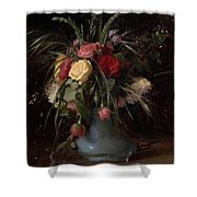Vase Of Flowers And A Visiting Card Shower Curtain