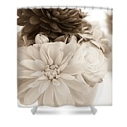 Vase Of Flowers In Sepia Shower Curtain