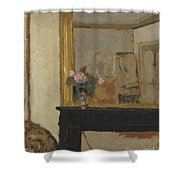 Vase Of Flowers On A Mantelpiece Shower Curtain