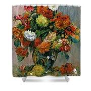 Vase Of Flowers Shower Curtain by Pierre Auguste Renoir