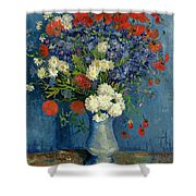 Vase With Cornflowers And Poppies Shower Curtain