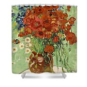 Vase With Daisies And Poppies Shower Curtain