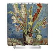 Vase With Gladioli And Chinese Asters Shower Curtain