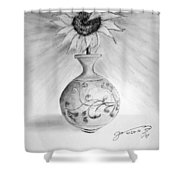 Vase With One Sunflower Shower Curtain