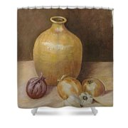 Vase With Onion Shower Curtain