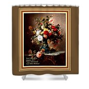 Vase With Roses And Other Flowers L A With Alt. Decorative Ornate Printed Frame. Shower Curtain