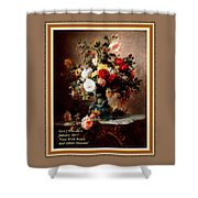 Vase With Roses And Other Flowers L A With Decorative Ornate Printed Frame. Shower Curtain