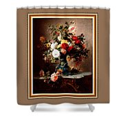 Vase With Roses And Other Flowers L B With Decorative Ornate Printed Frame. Shower Curtain