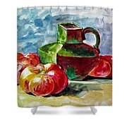 Vase With Tomatoes Shower Curtain