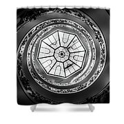 Vatican Staircase Looking Up Black And White Shower Curtain