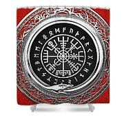 Vegvisir - A Silver Magic Viking Runic Compass On Red Leather  Shower Curtain