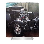 Vehicle- Black Hot Rod  Shower Curtain