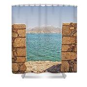 Veiw Of Lerapetra From Kales Fort Portrait Composition Shower Curtain