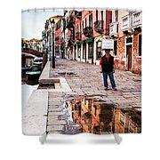 Venetian Baker, Reflection, Rain Puddle Shower Curtain