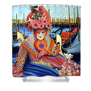 Venetian Carneval Mask With Bird Cage Shower Curtain