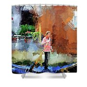 Venice Boat Rider Shower Curtain