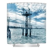 Venice - Buoy And Mooring In The Lagoon Shower Curtain