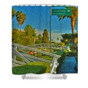 Venice Canal Bridge Signs Shower Curtain