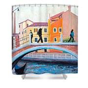 Venice Canal Painting Shower Curtain
