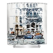 Venice Canal With Barges Shower Curtain