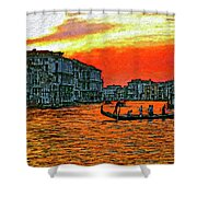 Venice Eventide Impasto Shower Curtain
