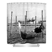 Venice. Gondola. Black And White. Shower Curtain