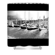 Venice Gondolas Silver Shower Curtain