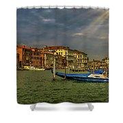 Venice Grand Canal God Sun Rays Shower Curtain