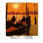 Venice In Orange Shower Curtain