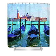 Venice Lagoon Gondolas Shower Curtain