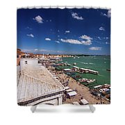Venice Lagoon Panorama - Bird View Shower Curtain
