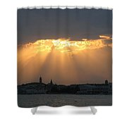 Venice Skyline At Sunset Shower Curtain