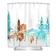 Venice Watercolor Skyline Shower Curtain