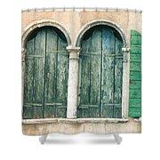Venice Window Flower Pot Shower Curtain