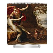 Venus And Adonis With Hounds Shower Curtain