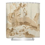 Venus And Cupid Discovering The Body Of Adonis Shower Curtain