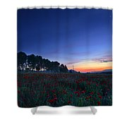 Venus And Moon Over Spring Poppies Shower Curtain