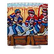 Verdun Hockey Rink Paintings Edmonton Oilers Vs Hometown Habs Quebec Hockey Art Carole Spandau       Shower Curtain