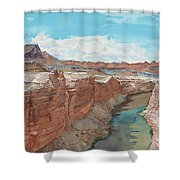Vermilion Cliffs Standing Guard Over The Colorado Shower Curtain