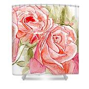 Vermilion Pink Roses Shower Curtain